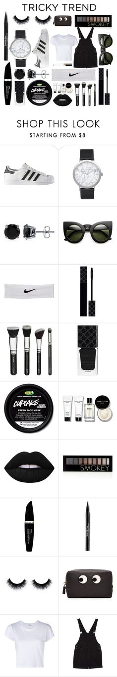 """""""Black & White"""" by ale-needam on Polyvore featuring adidas, Elwood, BERRICLE, NIKE, Gucci, Bobbi Brown Cosmetics, Lime Crime, Forever 21, Max Factor and Trish McEvoy"""