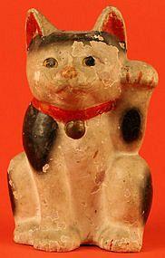 "Maneki Neko - Painted Pottery. Circa Early Meiji Period. 7-1/2"" (19cm)."
