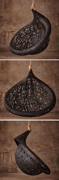 MANU NEST Hanging Chair design made from black Volcanic basalt fiber and natural resin, Designed By MAFFAM FREEFORM, See images of this Hanging Chair.