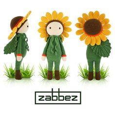 Crochet pattern amigurumi doll Sunflower Sam PDF van Zabbez op Etsy, €5.50