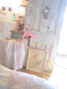 Shabby chic vintage pink chippy magazine book table cottage chic prairie