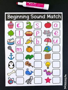 Beginning sound, middle sound and ending sound mats. Students write the single sound that matches the pictures. Kindergarten Language Arts, Early Literacy, Preschool Classroom, Kindergarten Activities, Preschool Activities, Work Activities, Student Learning, Kids Learning, Learning Spanish