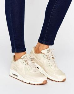 Nike air max 90 premium trainers in oatmeal - beige. air max 90 trainers by nike, a breathable leather and mesh upper, visible max air unit for cushioning, Nike Free Shoes, Running Shoes Nike, Nike Shoes, Air Max 90 Premium, Beige Trainers, Beige Sneakers, Shoes Sneakers, Sneakers Fashion, Shoes