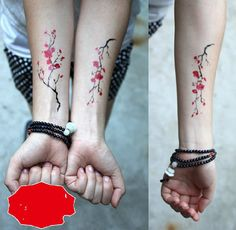Red plum temporary tattoos Back Abdomen Leg por Coolfashion4u
