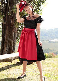 Hannah Dirndl midi im traditionellem Mustermix in schwarz/rot im Universal Online Shop | S❤