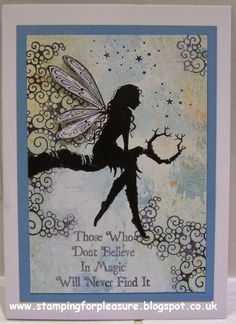 Featuring Lavinia Stamps' Tree Goddess Luna SKU 524002 and Believe In Magic SKU 481885.  Products available at www.addictedtorubberstamps.com  Card found on the Stamping For Pleasure blog. Tampons, Distress Ink, Lavinia Stamps Cards, Elfen Fantasy, Fairy Silhouette, I Card, My Stamp, Fairy Crafts, Fairy Art