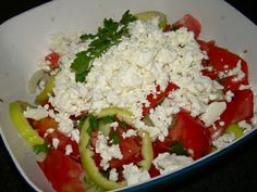 Shopska Salad - The name of this salad comes from the ethnological region called Shopluk. It is a product of early socialism in Bulgaria when leading chefs . Shopska Salad, Socialism, Bulgaria, Chefs, Recipes, Food, Essen, Meals, Eten