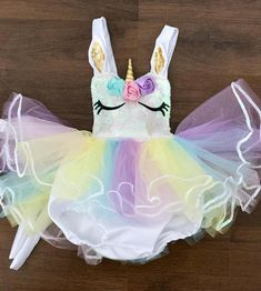This romper is amazing!!! Almost all little girls believe in unicorns! The inside is lined for comfort! Comes with the horn! Also available with an open skirt
