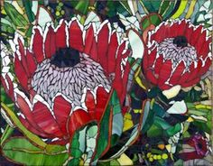 Mosaic Interpretations - Currently most of my work focuses on creating a variety of mosaic products - mirrors, tables, house numbers, bird baths - diJutal Mosaic Garden Art, Mosaic Tile Art, Mosaic Artwork, Mosaic Glass, Glass Art, Stained Glass, Protea Art, Protea Flower, Mosaic Designs