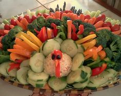 Thanksgiving Turkey Vegetable Platter-I have to figure out what to make the turkey body out of to be vegan.