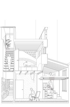 Just one area of the house should be this complicated. Where the stairs wrap around and up and through : Just one area of the house should be this complicated. Where the stairs wrap around and up and through Section Drawing Architecture, Architecture Graphics, Architecture Student, Concept Architecture, Architecture Design, Facade Design, House Design, Sectional Perspective, 3d Modelle