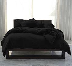 Black bed sheets, pillows etc Black Master Bedroom, Black Bedroom Design, Black Bedroom Decor, Room Ideas Bedroom, Master Bedrooms, Bed Room, Master Suite, Black Bedroom Sets, Sleep Room