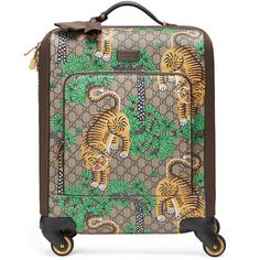 Gucci Bengal GG Supreme Carry-On Trolley (£2,725) ❤ liked on Polyvore featuring bags, luggage and beige