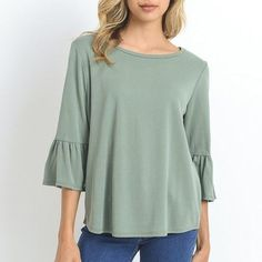 Sage Three Quarter Sleeve Top