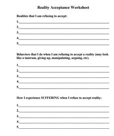 Acceptance In Recovery Worksheets - Imagez co