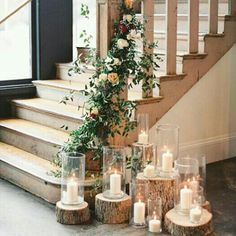 not the tree stumps :) Pretty garland w/cluster of candles for the staircase!