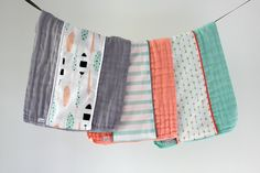 Baby Burp Cloth Gift Set of 3, Feathers, Stripes and Arrows by owesley on Etsy