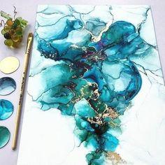 Fluid painting abstract art dutch pour on big canvas Alcohol Ink Crafts, Alcohol Ink Painting, Alcohol Ink Art, Pour Painting, Acrylic Pouring Art, Acrylic Art, Art Sur Toile, Resin Art, Watercolor Art