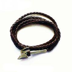 Мужской браслет из кожи (коричневый)