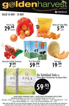 Visit Convenience Centre or at the for savings on selected products. Prices valid from 10 – 13 November T's & C's apply, E&OE Golden Harvest, Chenin Blanc, Sauvignon Blanc, Centre, November, Cocktails, Fruit, Food, Products