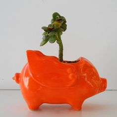 Ceramic When Pigs Fly 60s Mini Desk Pig Planter by fruitflypie, $36.00