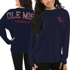 Ole Miss Rebels Women's Aztec Sweeper Long Sleeve Oversized Top - Navy Blue