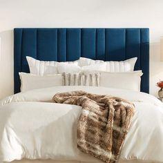 Blue Headboard, Queen Size Headboard, Velvet Headboard, Blue Bedding, Low Bed Frame, Velvet Bedroom, Contemporary Headboards, Headboard Designs, Bedroom Decor