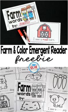 Farm & color emergent reader! A great freebie for kindergartners during a farm unit!