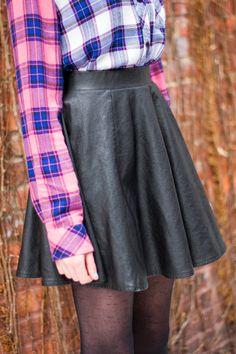 Plaid Shirt + Leather Skirt | FASHION IS MY RELIGION | photo Alex C.D. photography | #black #leather #topshop #skirt #plaid #blouse #pink #blue