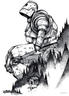 'Iron Giant' Poster by Deefex Tattoo Drawings, Cool Drawings, Body Art Tattoos, Drawing Sketches, Cool Sketches, The Iron Giant, Arte Robot, Desenho Tattoo, Pointillism