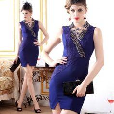Fashion graceful V-neck sleeveless lace daimond party dresse...