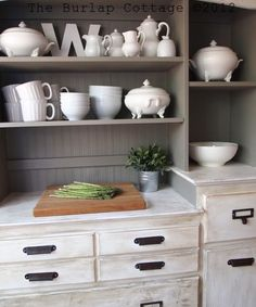 Annie Sloan Chalk Paint - Pure White & French Linen with French Linen tinted wax over the white and bead board WALLPAPER!