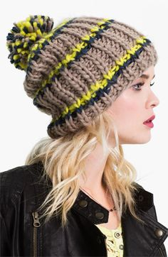 Free People Chunky Knit Beanie available at #Nordstrom in the pink and tan color