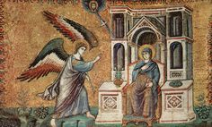 Pietro Cavallini - Scenes from the Life of Mary ~ Annunciation (apsis of the Basilica di Santa Maria in Trastevere, Rome) ピエトロ・カヴァリーニ Medieval Art, Renaissance Art, Santa Maria, Archangel Gabriel, Late Middle Ages, Byzantine Art, Free Art Prints, Italian Painters, Italian Art
