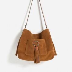 Image 1 of LEATHER BUCKET BAG WITH TASSELS from Zara Bolsos De Moda 14bf0c99893a6