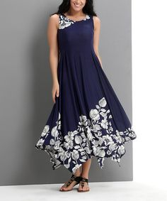 Look at this #zulilyfind! Navy Floral Sleeveless Handkerchief Maxi Dress - Plus #zulilyfinds