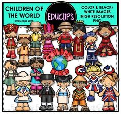 A collection of Children from different countries around the world: Africa, Brazil, Canada, USA, Germany, China, Holland, France, India, Italy, Japan, UK, Russia, Spain, Mexico and a 'Children Of The World' sign.These cartoon-like children are dressed in clothes that have some connection to their countries.