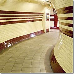 London Underground. Tiles laid in brickwork