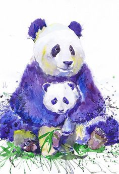 SALE Panda with baby wildlife  watercolor   wall decor  by ValrArt #SPSTeam