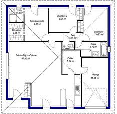 Plan De Maison Plein Pied Gratuit 3 Chambres | HOMEPLANS en 2019 | Pinterest | Plan maison, Plan ...
