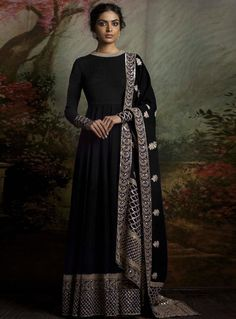 Black Banglori Silk Floor Length Anarkali Suit 93632