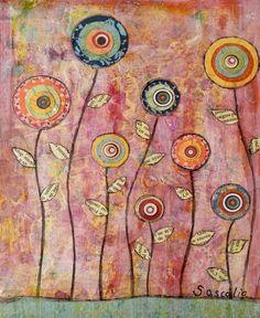 Pink Abstract Flower Art Print Retro Art Mixed Media by Sascalia, $18.00