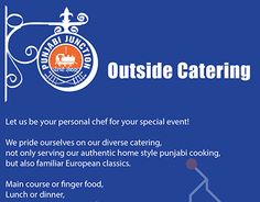 An outside catering flyer for Punjabi Junction, taking inspiration from the beautiful mural of the indian railroads they have on there wall http://punjabijunction.org/