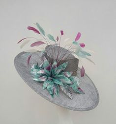 Stunning Side sweep in silver grey, aqua, pink. perfect for Weddings, Royal Ascot, Kentucky Derby by JayneAlisonMillinery on Etsy Mother Of The Bride Hats, Silver Hats, Tea Hats, Royal Ascot Hats, Derby Outfits, Millinery Hats, Sinamay Hats, Run For The Roses, Barbie