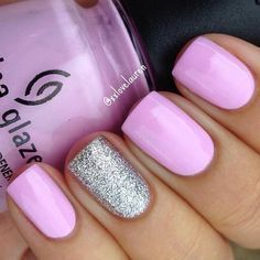 18 Spring Nails - Pretty in pink with a silver glitter accent nail. #springnails #SummerNails #FrenchTipNails