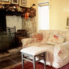 English country cottage sitting room with inglenook fireplace and pretty slip covered sofa English Country Cottages, Inglenook Fireplace, Interior, Cottage Decor, Home Decor, Cottage Living Rooms, Room, English Interior, Country Style Living Room
