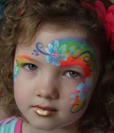 RAINBOW AND FLOWERS FACE PAINT