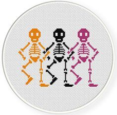 Haha, these dancing skeletons are now at the top of my list of Hilarious Cross-stitch Patterns. They look so fun!