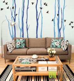 Flock of Birds Large Wall Decals Winter Scene Tall Birch Trees Peel and Stick Vinyl Stickers Forest Nature Baby's Kid's Room DIY Decor MM013 by ONWALLstudio on Etsy https://www.etsy.com/listing/171353418/flock-of-birds-large-wall-decals-winter