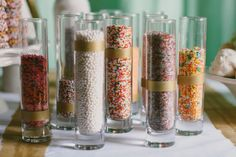 #Sprinkles for #IceCreamBar | More wedding inspiration on SMP: http://www.stylemepretty.com/2013/06/06/mint-gold-inspired-photo-shoot-from-paige-jones-gertie-maes-floral-studio/ Photography + Creative Direction: Paige Jones